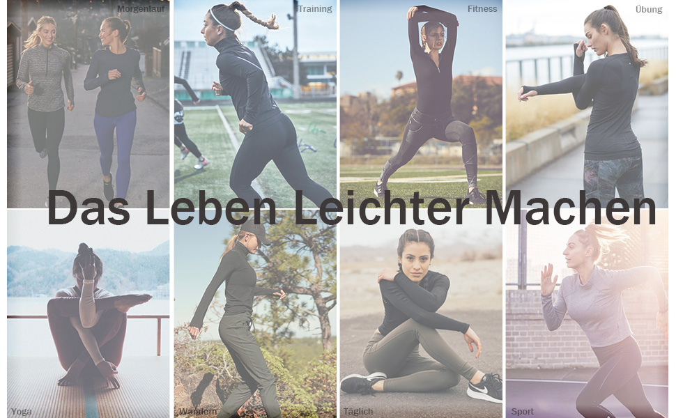 Balancora Sportjacke Damen Laufjacke Trainingsjacke voll Rei/ßverschluss Slim Fit Sweatjacke mit Daumenl/öcher f/ür Yoga Fitness