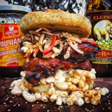 Adoboloco Pau Hana Hawaiian Barbecue Sauce with a Pork Beef Daikon Brioche Bun Burger