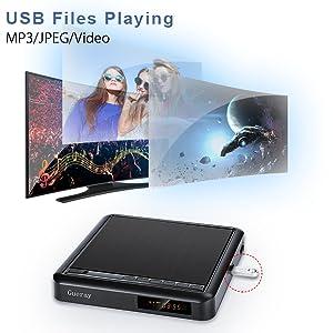 Reproductor de DVD portátil Gueray con Escalamiento Full HD y Reproducción de Disco Duro Externo DVD-R / RW CD-R / RW Puerto USB Control Remoto Cable ...