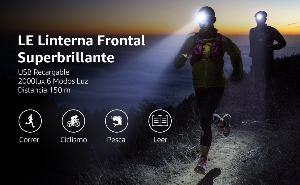 Linterna Frontal USB Recargable 2000lux (2 Pack), LE D500 Linterna ...
