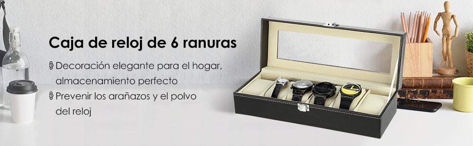 Caja de Relojes Estuche para Relojes y joyeros con 6 Compartimentos: Amazon.es: Relojes