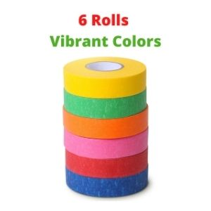 Colored Masking Tape, Colored Painters Tape for Arts and Crafts, 6 Pack, Drafting Tape