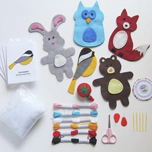 kids craft kits, woodland animals sewing kit