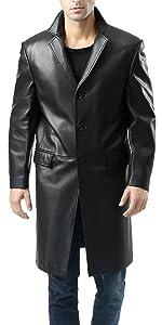 BGSD Men's New Zealand Lambskin Leather Long Walking Coat