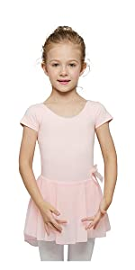 MdnMd Girls Puff Sleeve Skirted Leotard