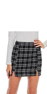Plaid Split Side High Waist A Line Mini Skirt