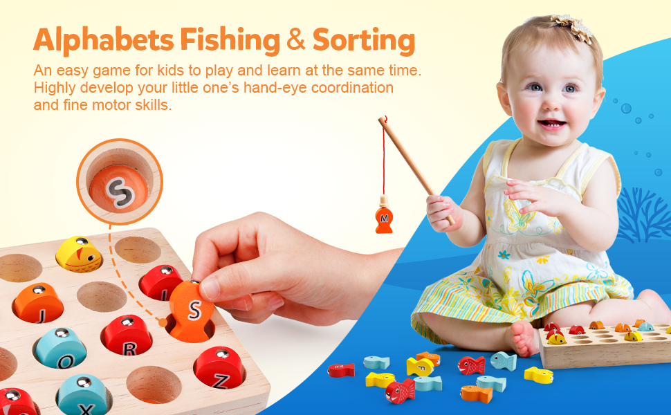 Fishing Game Wooden Alphabet Letter Magnets Catching Fish Toy Board Games with Magnet Fishing Poles
