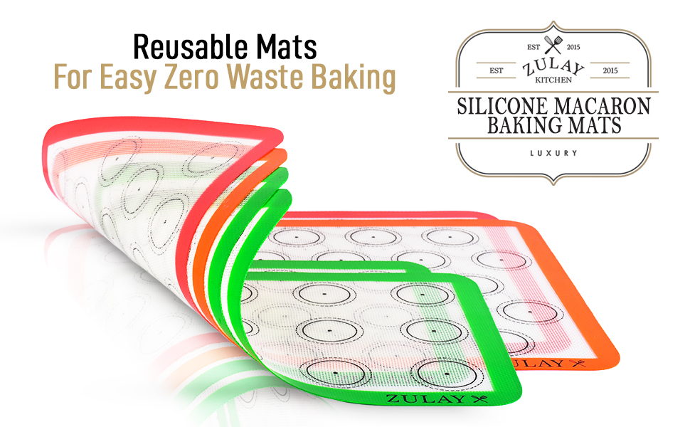 zulay kitchen silicone baking mats macaron desserts happiness bake indoor home reusable