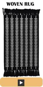 boho area rug 2x3 with tassels black white cute small throw rug
