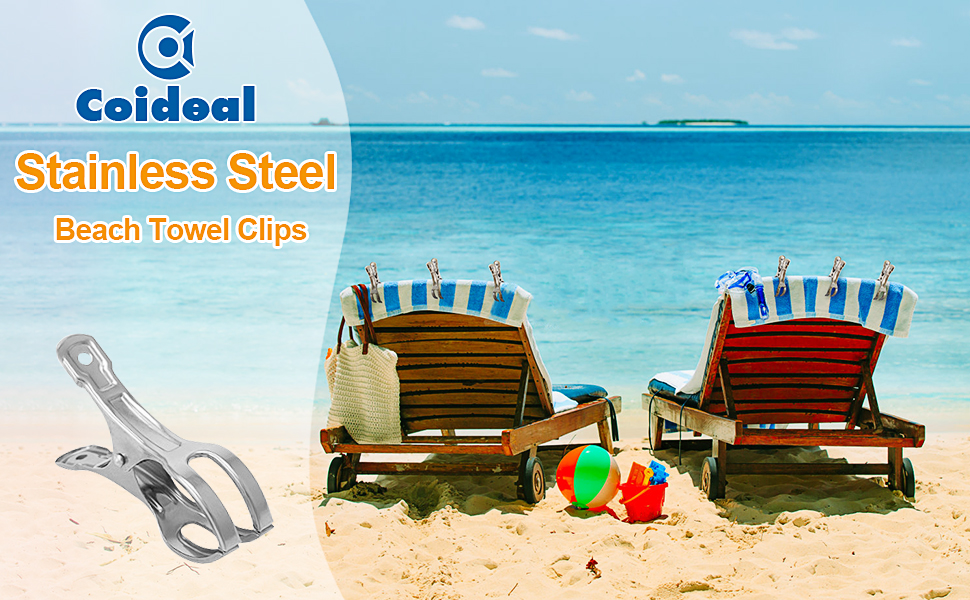 Coideal stainless steel beach towel clips