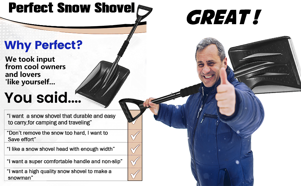 :I want  a snow shovel that durable and easy to carry,for camping and traveling