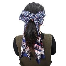 Edge scarf headband used as hair ties