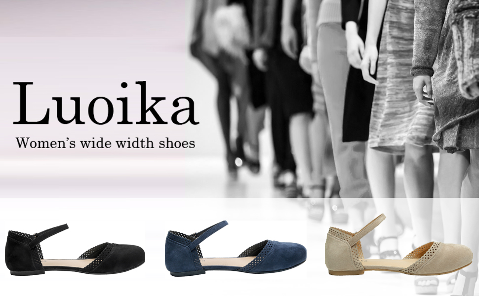 Luoika Womens Wide Width Flat Sandals Flexible Buckle Strap Mary Jane Cozy Summer Shoes.