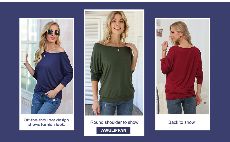 AWULIFFAN Tops for Women Sexy One Shoulder Tops Banded Waistband Shirts 3/4 Sleeves