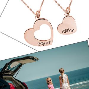 sister necklace set rose gold