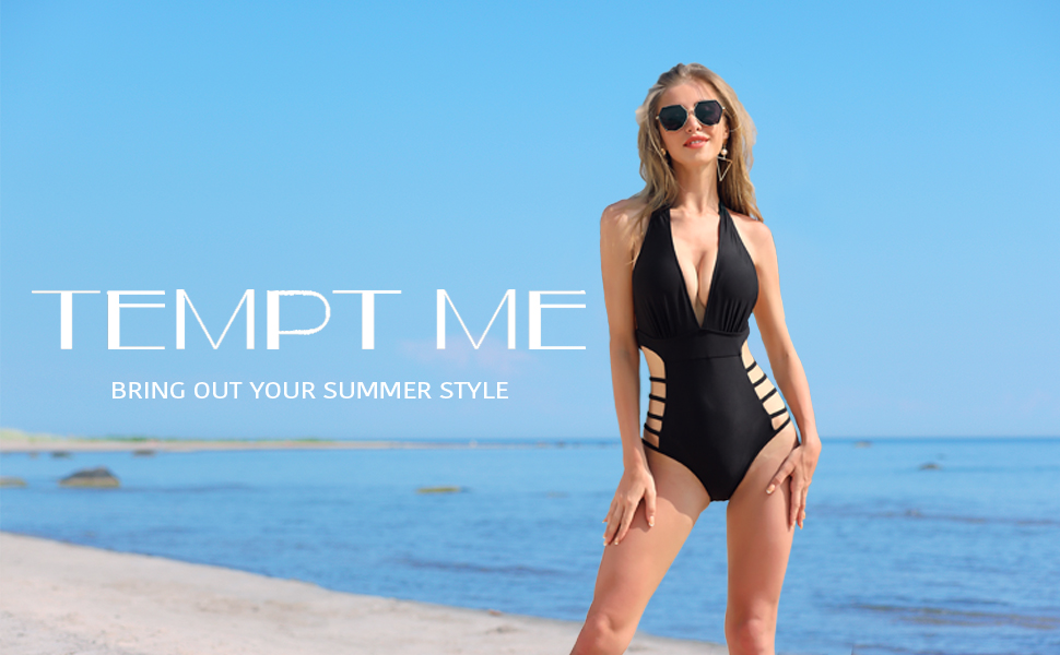 cutout v neck one piece swimsuits