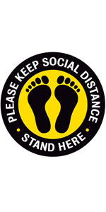 """Please Keep Social Distance Floor Stickers - 8"""" Round - Yellow/Black"""