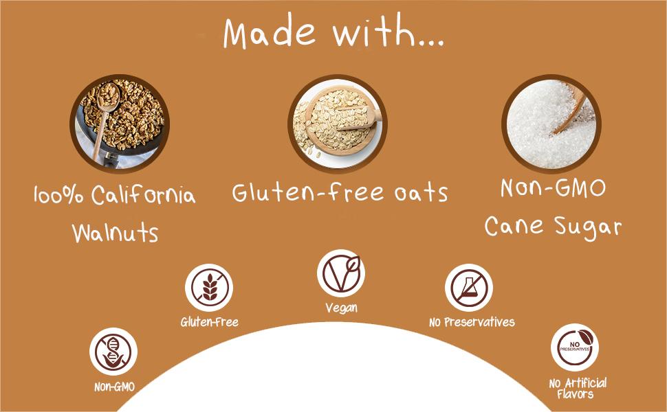100% california grown walnuts almonds peanuts gluten free oatmeal non-gmo cane sugar vegan gluten