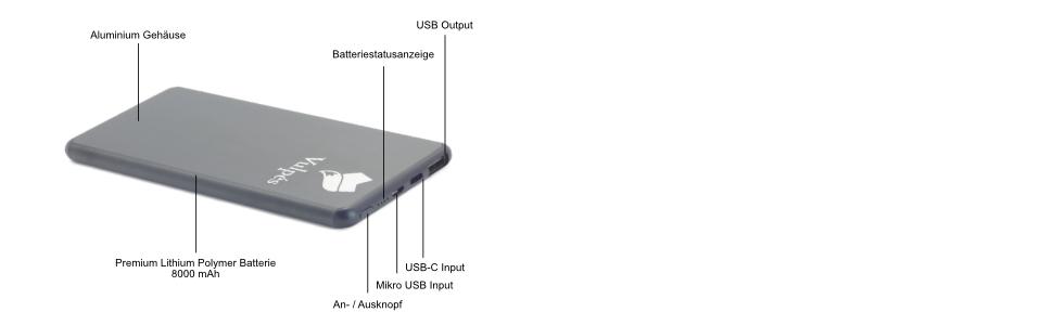 Vulpés Powerbank 8000 Mah Externer Akkupack Geeignet Elektronik