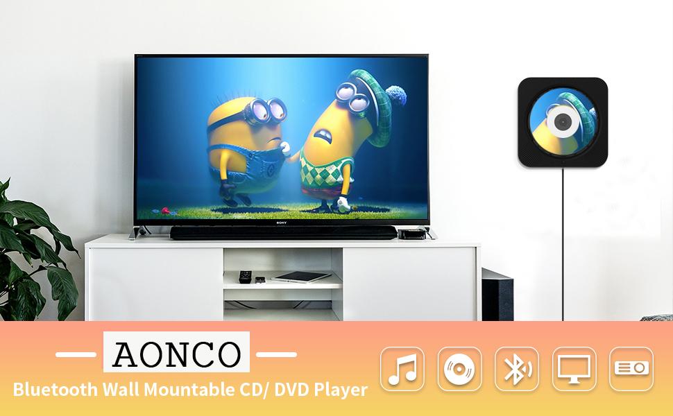 AOCNO Portátil Bluetooth Reproductor de DVD/CD, Montable en la Pared Audio con Mando a Distancia Incorporado Radio FM Altavoz USB MP3 Auriculares de Jack AUX Input/Output, Negro: Amazon.es: Electrónica