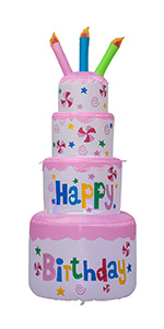 6 Feet Tall Cute Inflatable Happy Birthday Cake with Candle