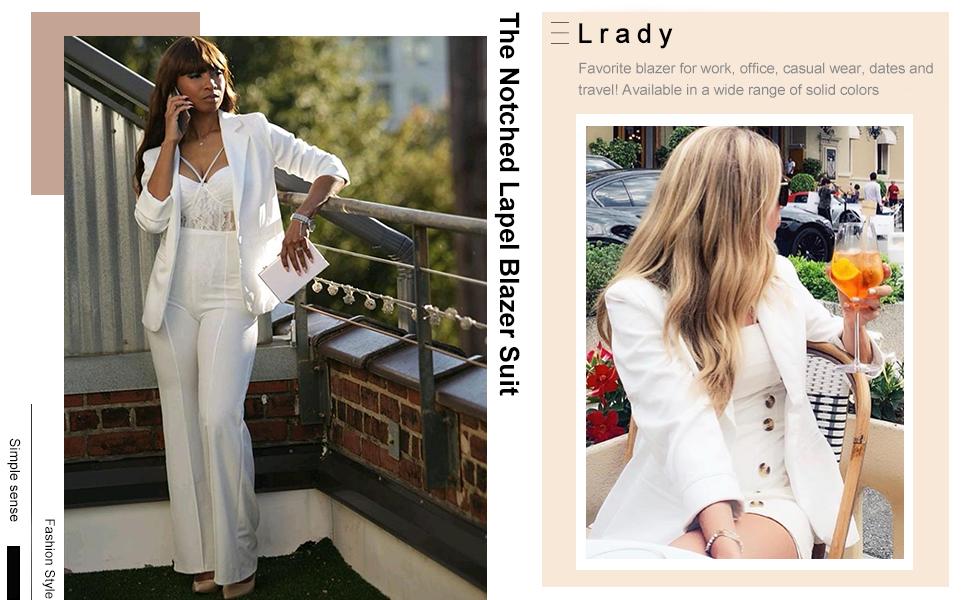 Lrady Womens Casual Blazers Open Front Long Sleeve Work Office Jackets Blazer