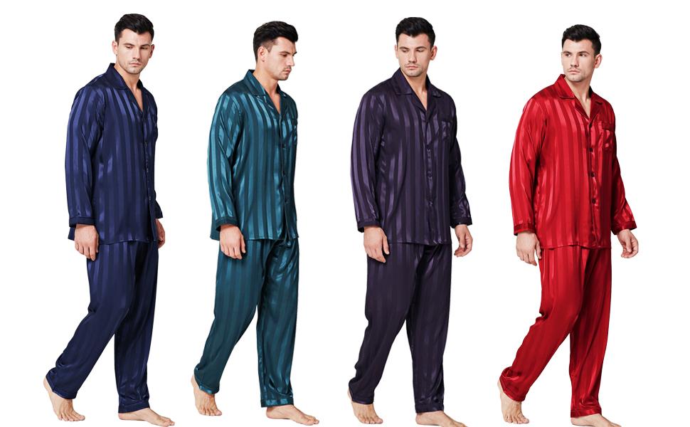 Eghunooye Herren Seide Schlafanzughose Pyjamahose Nachtw/äsche S M L XL