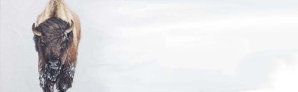 Bison studieren im Schnee