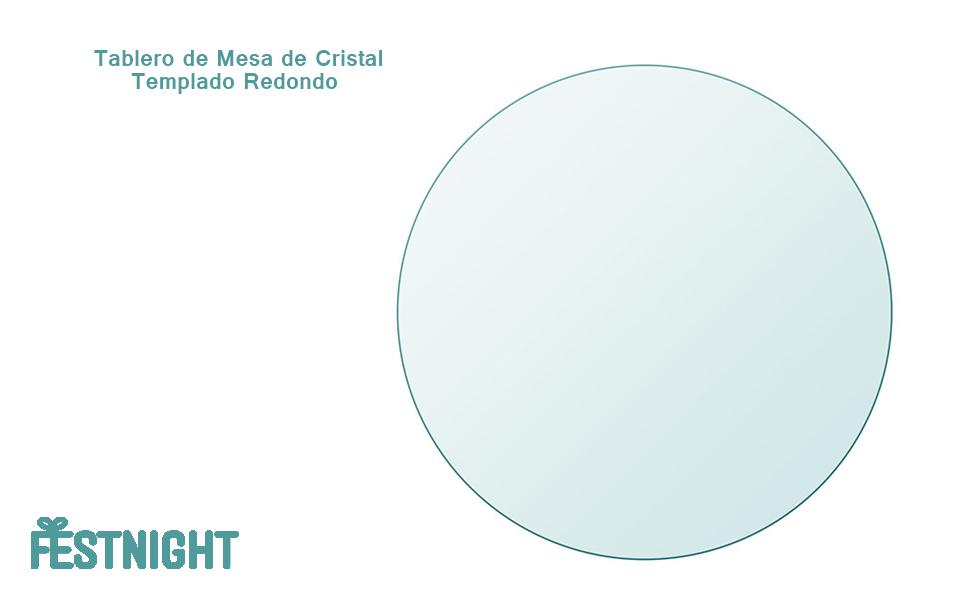 Festnight Tablero de Mesa de Cristal Templado Redondo - Color de ...