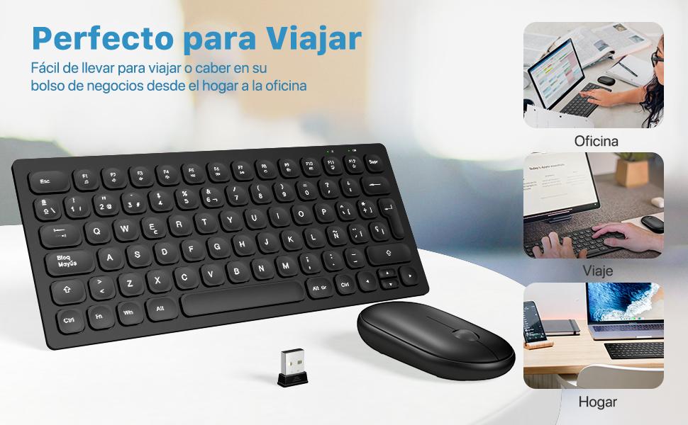 WisFox Combo de Teclado y Ratón Inalámbricos, 2.4GHz Silencioso Combo de Ratón Inalámbrico con Teclado USB Teclado Pequeños, Compactos, Delgados, ...