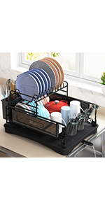 2 Tier Dish Rack Adjustable Height with Drying Drainboard Cup Holder Double Utensil Holders for