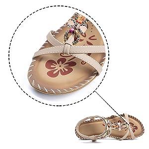 ankle elastic flat sandals for ladies cute flat sandals fashion rhinestone comfy dress slippers blue
