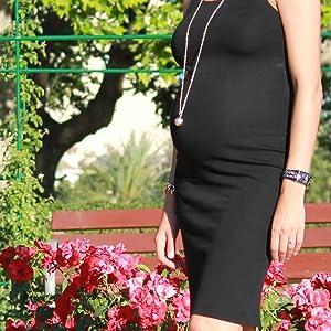 Cadeau id/éal future maman femmes enceintes CREA/&CO Bola de grossesse coeur Appeleur dAnge plaqu/é argent avec Longue cha/îne 114cm Bijou musical avec carillon sonore pour maternit/é