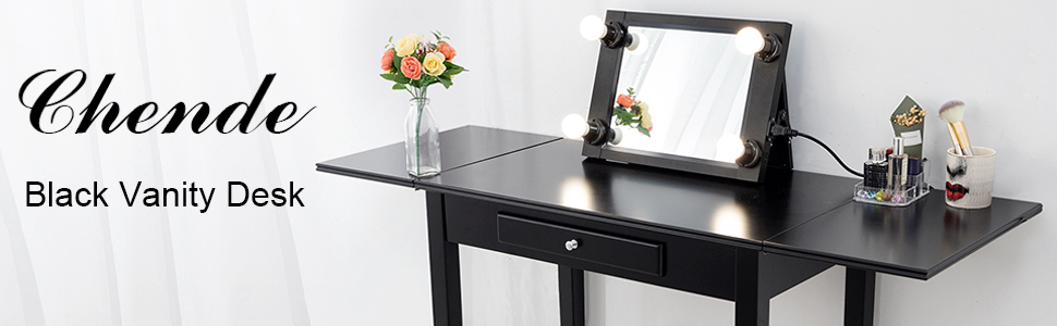 Chende Black Makeup Vanity Table with Drawer and Drop Leaf ...