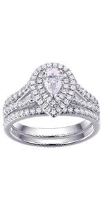 NEWSHE wedding rings for women engagement ring set