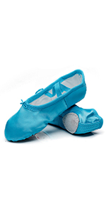 MSMAX Classic Ballet Slippers Satin Performa Dance Flats with Ribbon for Girls Toddler//Little Kid//Big Kid
