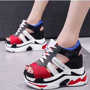 red sandals colorful sandals for women wedges heels for women slip on sandals for women sexy peep