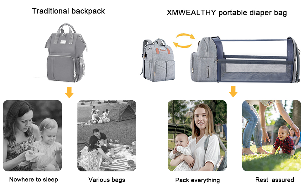 diaper backpack with a changing station black diaper bag with baby foldable crib baby bag bed