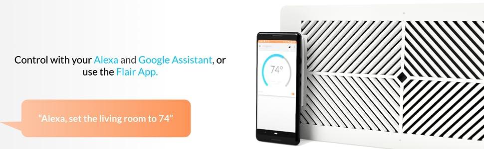 smart vent temperature control voice alexa echo google assistant home app ios android web flair