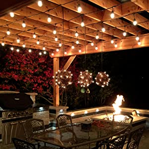 Outdoor Commercial String Lights 24ft Heavy Duty