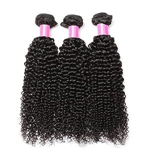 kinky curly hair bundles with closure
