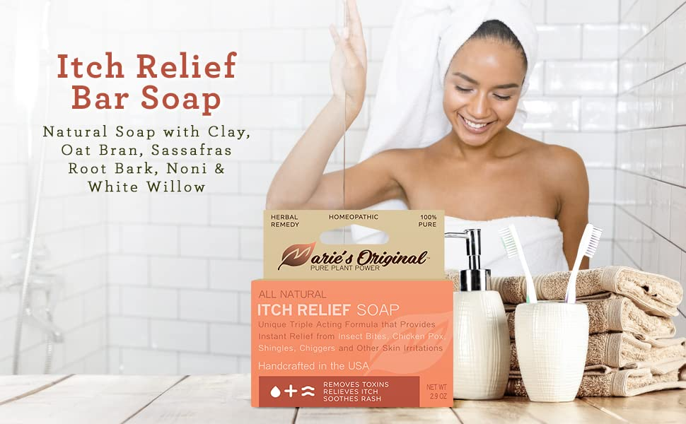 Itch Relief Bar Soap All Natural Ingredients Herbal Remedy Bug Bite Treatment
