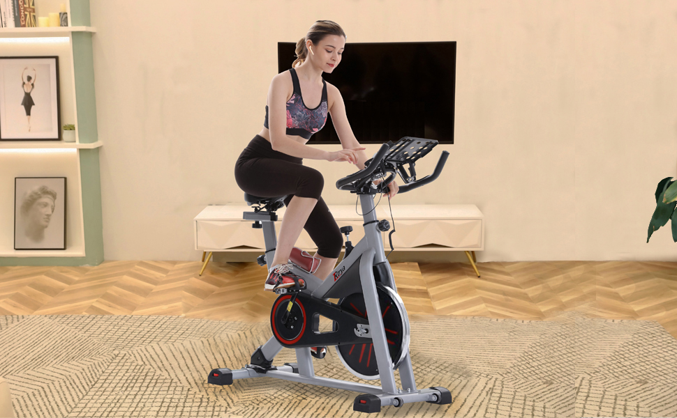 Trintion Exercise Bike Home Indoor Cycling Fitness Bike Spinning Bike Training Belt Driven Flywheel with Resistance LCD Display Heart Rate Monitor Adjustable Handlebars Seat Stationary Exercise Bike