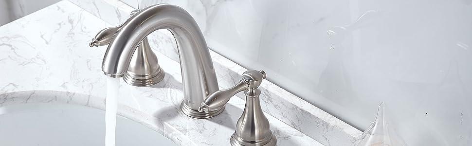 Top view of widespread bathroom faucet