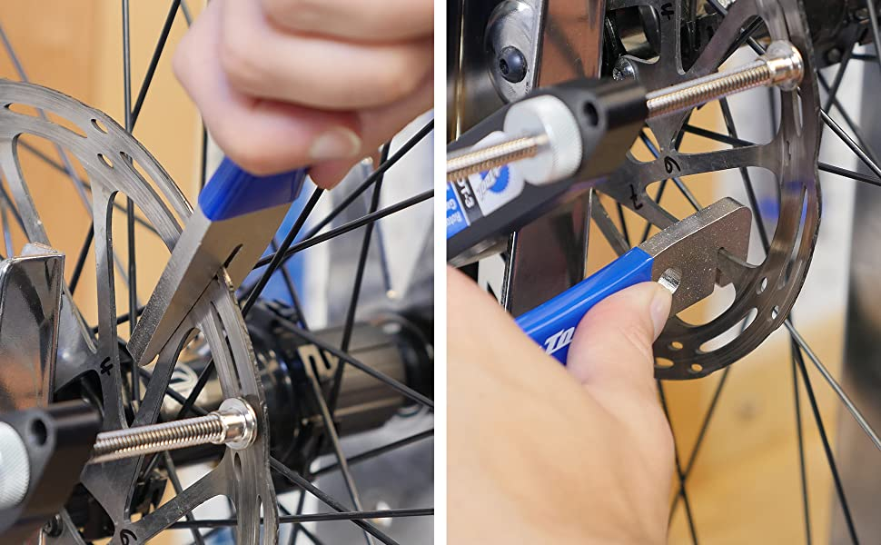 Park Tool DT-2 Truing Fork in use in conjunction with DT-3 Rotor Truing Gauge