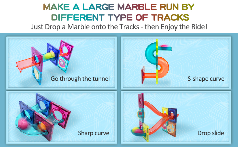magnetic tiles marble run toys for kids 3 4 5 6 7 8 10 12 year old