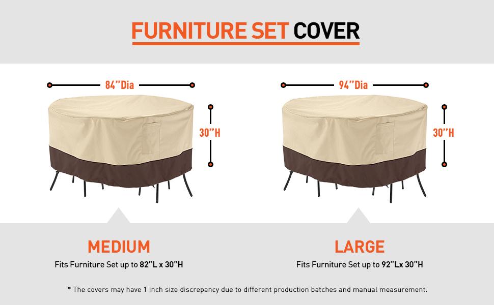 Patio Round Furniture Set Cover