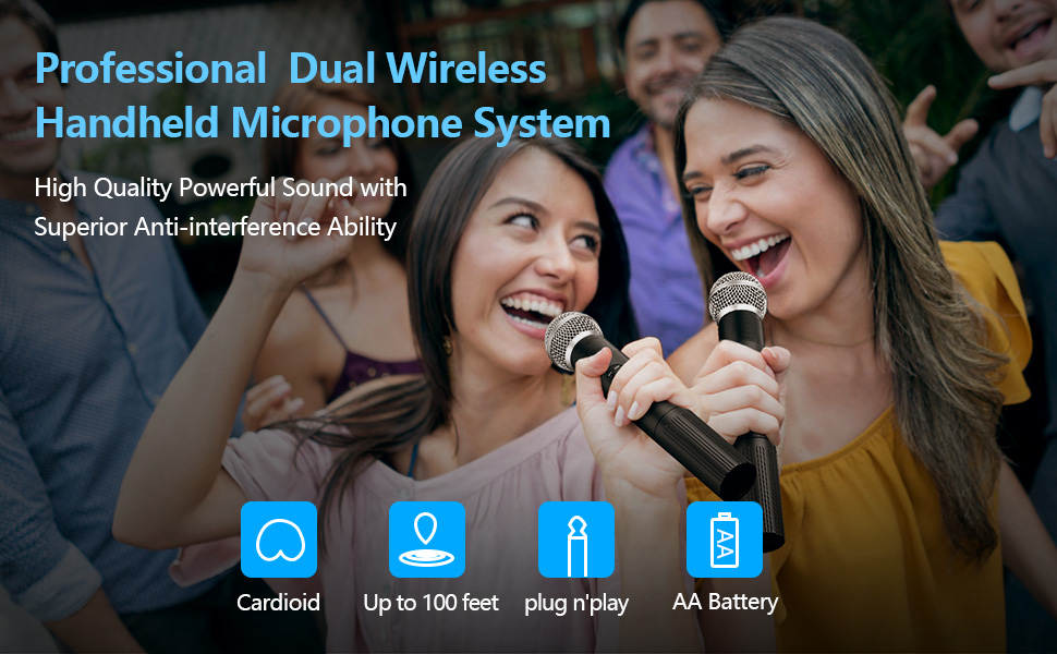 professional dual wireless handheld microphone system karaoke mic DJ home cordless microphone