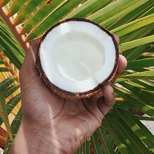 Man holding a coconut shell
