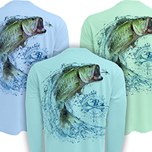 spf fishing apparel sun protective clothing jersey technical uv performance t-shirt big mouth bass